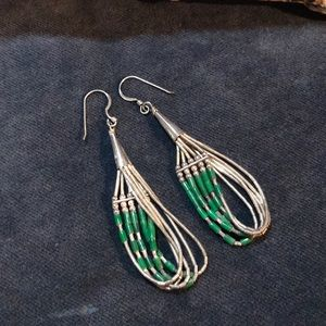 Jewelry - Native American Sterling and Malachite Earrings